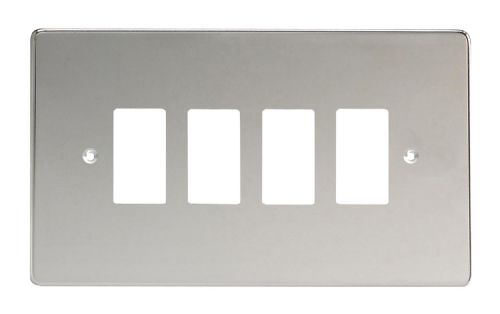 Varilight XDCPG4 PowerGrid Polished Chrome 4 Gang Grid Plate (Twin Plate)